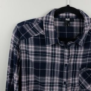 Paige Flannel Navy Pink Button Down SZ L